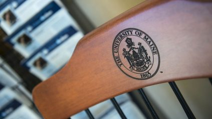 Wooden chair with UMaine Crest