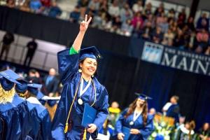 Graduation photo victory pose