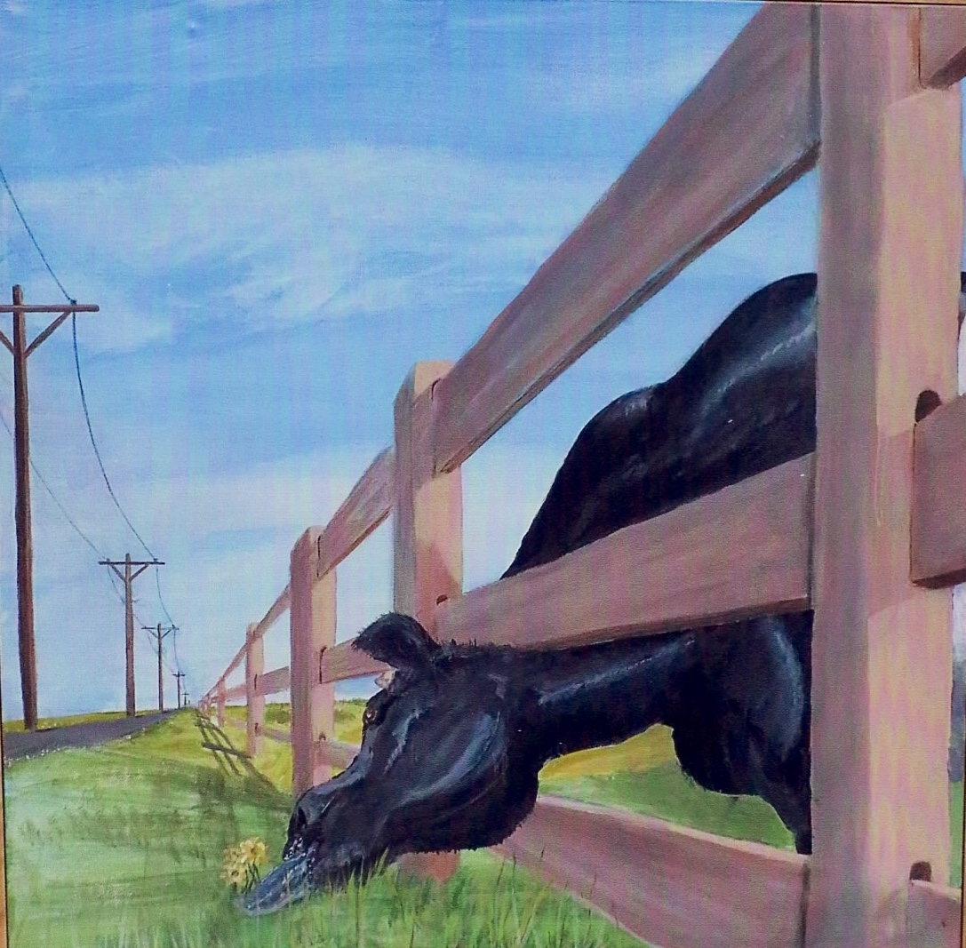 Painting cow and fence