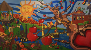 Art Mural with sun, gazebo, people, tree, river