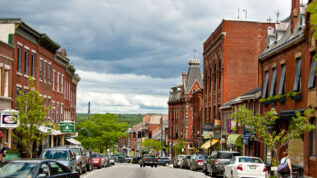 Downtown Belfast Maine in the summer