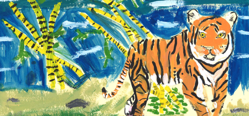 Painting of Tiger with palm trees in the background
