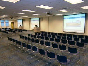 Conference center chairs in rows