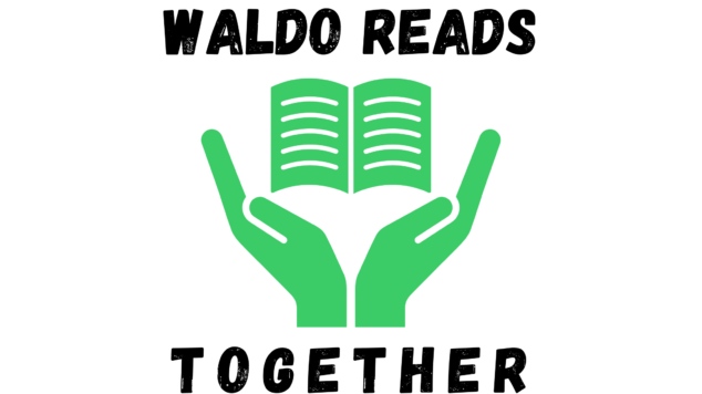 "logo with black words reading ""Waldo Reads Together"" with green hands holding a book"