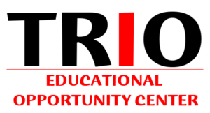 """MEOC logo, reads """"TRIO Educational Opportunity Center"""" in black and red type"""