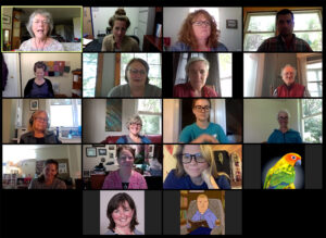 Screenshot of Zoom Gallery showing participants faces